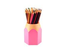 Kleurpotloden met steun op een witte achtergrond Royalty-vrije Stock Foto's