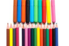 Kleurpotloden, zacht-uiteindepennen Royalty-vrije Stock Foto