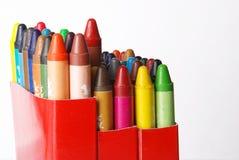 Kleurpotloden in zak Stock Fotografie