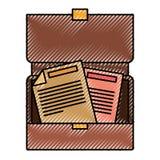 Kleurpotloodsilhouet van geopende uitvoerende aktentas met documenten royalty-vrije illustratie
