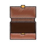 Kleurpotloodsilhouet van geopende uitvoerende aktentas royalty-vrije illustratie