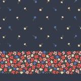 Kleurrijk abstract ditsy gestural bloemen vector naadloos horizontaal grens en patroon op donkere achtergrond Bloemenrand vector illustratie