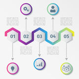 Kleurrijk Abstract hexagon infographics of chronologiemalplaatje Vector illustratie Stock Fotografie