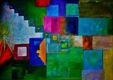 Kleurrijk abstract olieverfschilderij Stock Foto's