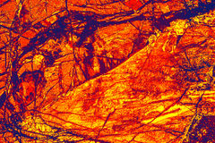 Kleurrijk, abstract patroon van mineraal in een het polariseren micrograaf Royalty-vrije Stock Afbeelding