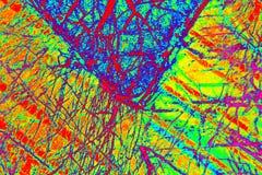 Kleurrijk, abstract patroon van mineraal in een het polariseren micrograaf Stock Afbeelding