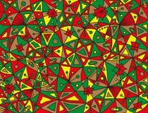 Kleurrijk abstract vissenpatroon in groene, rode, lichtbruine en gele kleuren Stock Afbeeldingen