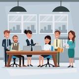 Kleurrijk achtergrondwerkplaatsbureau met de groepswerkuitvoerende macht het werken stock illustratie