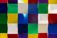 Kleurrijk acrylstructuurpatroon die tot abstract geometrisch w leiden Stock Afbeeldingen