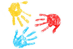 Kleurrijk afgedrukt handenkind Royalty-vrije Stock Foto