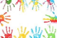 Kleurrijk afgedrukt handenkind Royalty-vrije Stock Afbeeldingen