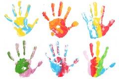 Kleurrijk afgedrukt handenkind Stock Foto's