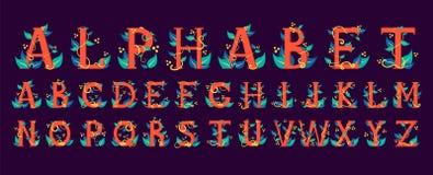 Kleurrijk alfabet Bloemenontwerp van de brief stock illustratie