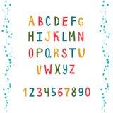 Kleurrijk alfabet met aantallen royalty-vrije illustratie