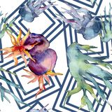 Kleurrijk aquatisch onderwateraardkoraalrif Waterverf achtergrondillustratiereeks Naadloos patroon als achtergrond royalty-vrije stock afbeeldingen