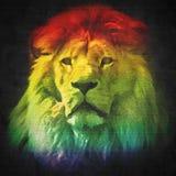 Kleurrijk, artistiek portret van een leeuw op zwarte royalty-vrije illustratie