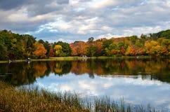 Kleurrijk Autumn Trees op de Kust van een Meer en een Bewolkte Hemel stock afbeelding