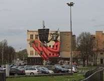 Kleurrijk beeld op de muur van het inbouwen van Kaunas, Litouwen Royalty-vrije Stock Foto