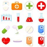 Kleurrijk beeldverhaal 16 medische pictogramreeks royalty-vrije illustratie