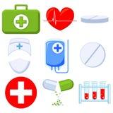 Kleurrijk beeldverhaal 9 medische pictogramreeks stock illustratie