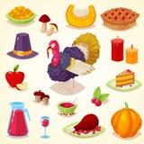 Kleurrijk beeldverhaalvoorwerp voor thanksgiving day Stock Foto