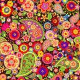 Kleurrijk behang met grappige de lentebloemen Royalty-vrije Stock Foto's