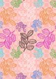 Kleurrijk bladeren naadloos patroon over geweven lichtoranje achtergrond royalty-vrije illustratie