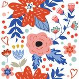 Kleurrijk bloeiend bloemen naadloos patroon Royalty-vrije Stock Foto