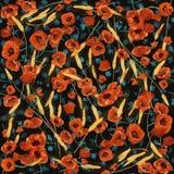 Kleurrijk bloeiend papavers naadloos patroon Stock Foto