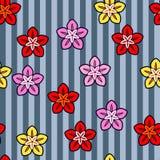 Kleurrijk bloem naadloos patroon op witte achtergrond Document drukontwerp Abstracte retro vectorillustratie In textiel, vector illustratie