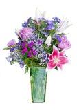 Kleurrijk bloemboeket in groene vaas Royalty-vrije Stock Fotografie