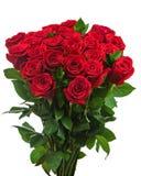 Kleurrijk bloemboeket van rode die rozen op witte backgro worden geïsoleerd Stock Foto
