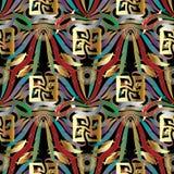 Kleurrijk bloemen Grieks zeer belangrijk 3d naadloos patroon Vector abstract s Stock Illustratie