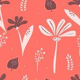 Kleurrijk bloemen naadloos patroon in het leven koraalkleur vector illustratie