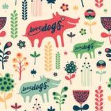 Kleurrijk bloemen naadloos patroon met liefdehonden Stock Afbeelding