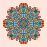 Kleurrijk bloemen rond ornament Etnische motieven Stock Afbeeldingen