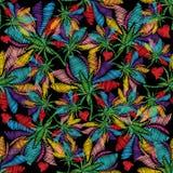 Kleurrijk bloemenborduurwerk naadloos patroon Heldere vector backg Royalty-vrije Stock Afbeeldingen