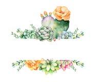 Kleurrijk bloemenkader met bladeren, succulente installatie, takken en cactus stock illustratie