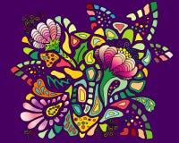 Kleurrijk bloempatroon op violette achtergrond Stock Afbeelding