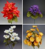 Kleurrijk boeket vier van stoffenbloemen stock foto