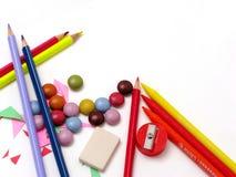 Kleurrijk bureau Stock Foto's