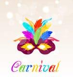 Kleurrijk Carnaval-masker met veren met tekst vector illustratie