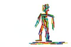 Kleurrijk cijfer van een menselijke wereldburger; landschapsformaat Royalty-vrije Stock Afbeelding