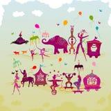 Kleurrijk circus Carnaval die in twee rijen tijdens daglicht reizen Royalty-vrije Stock Afbeeldingen