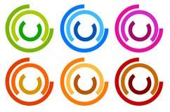 Kleurrijk cirkelembleem, pictogrammalplaatjes gesegmenteerd concentrisch circl vector illustratie