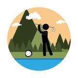 Kleurrijk cirkellandschap met achtergrondbergen en golfspeler vector illustratie