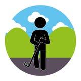Kleurrijk cirkellandschap met golfspeler vector illustratie
