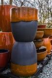 Kleurrijk Clay Ceramic Plant Pots Stock Afbeelding