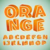 Kleurrijk 3d Alfabet met oranje patroon stock illustratie