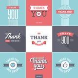 Kleurrijk dank u Kaarten vector illustratie